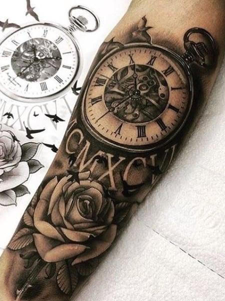 Roman Numeral Clock Tattoo : roman, numeral, clock, tattoo, Clock, Tattoos, Trend, Spotter