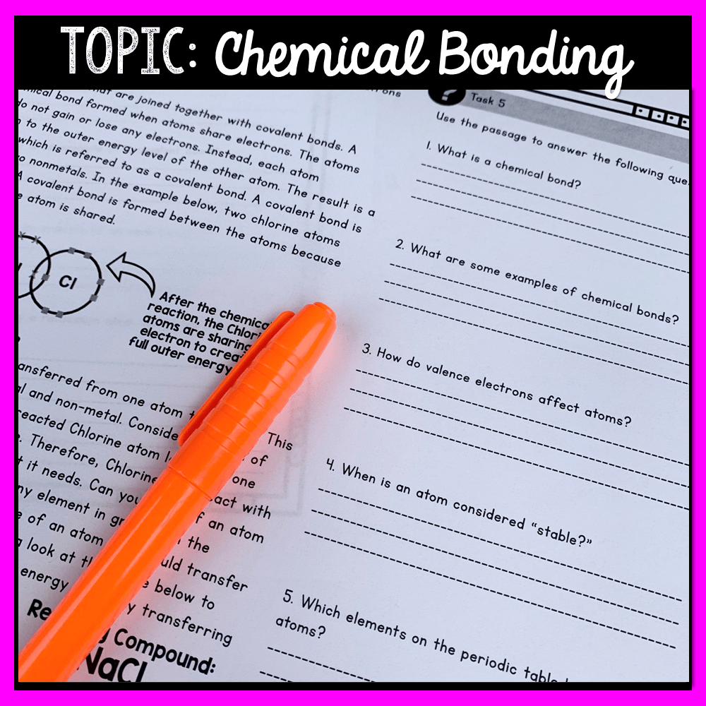 hight resolution of Chemical Bonding and Reactions Close Reading Assignment ⋆ The Trendy  Science Teacher
