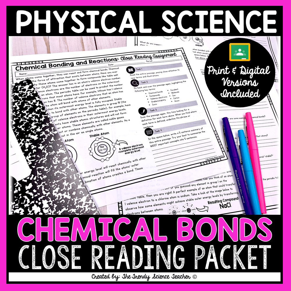 Chemical Bonding and Reactions Close Reading Assignment ⋆ The Trendy  Science Teacher [ 1000 x 1000 Pixel ]