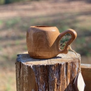Handcarved Wood Mug