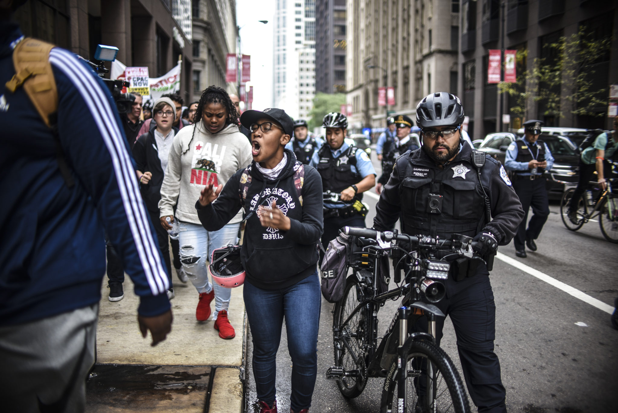 Women were among the leaders of Friday's march after the Van Dyke verdict.