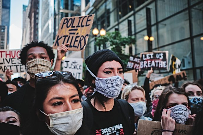 """More signs expressing sentiments toward the police during the """"Day of Protest"""" in Chicago 