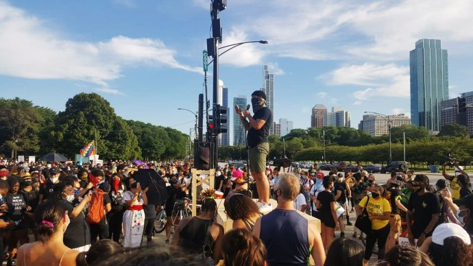 A Black and Indigenous solidarity rally took place before the Decolonize Zhigaagoong protest on Friday, July 17   Photo by Anthony Bryant/The TRiiBE