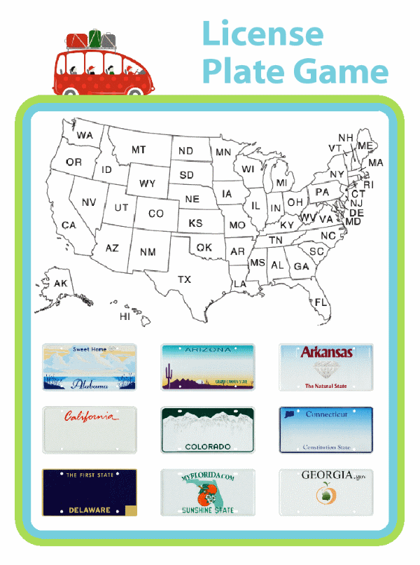 Going on a road trip? The whole family can bone up on their geography with this fun version of the license plate game. When you spot a license plate from a new state, check it off, and then color it in on the map