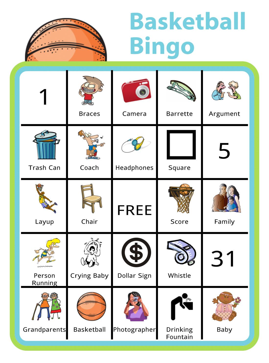 Free Printable Basketball Bingo
