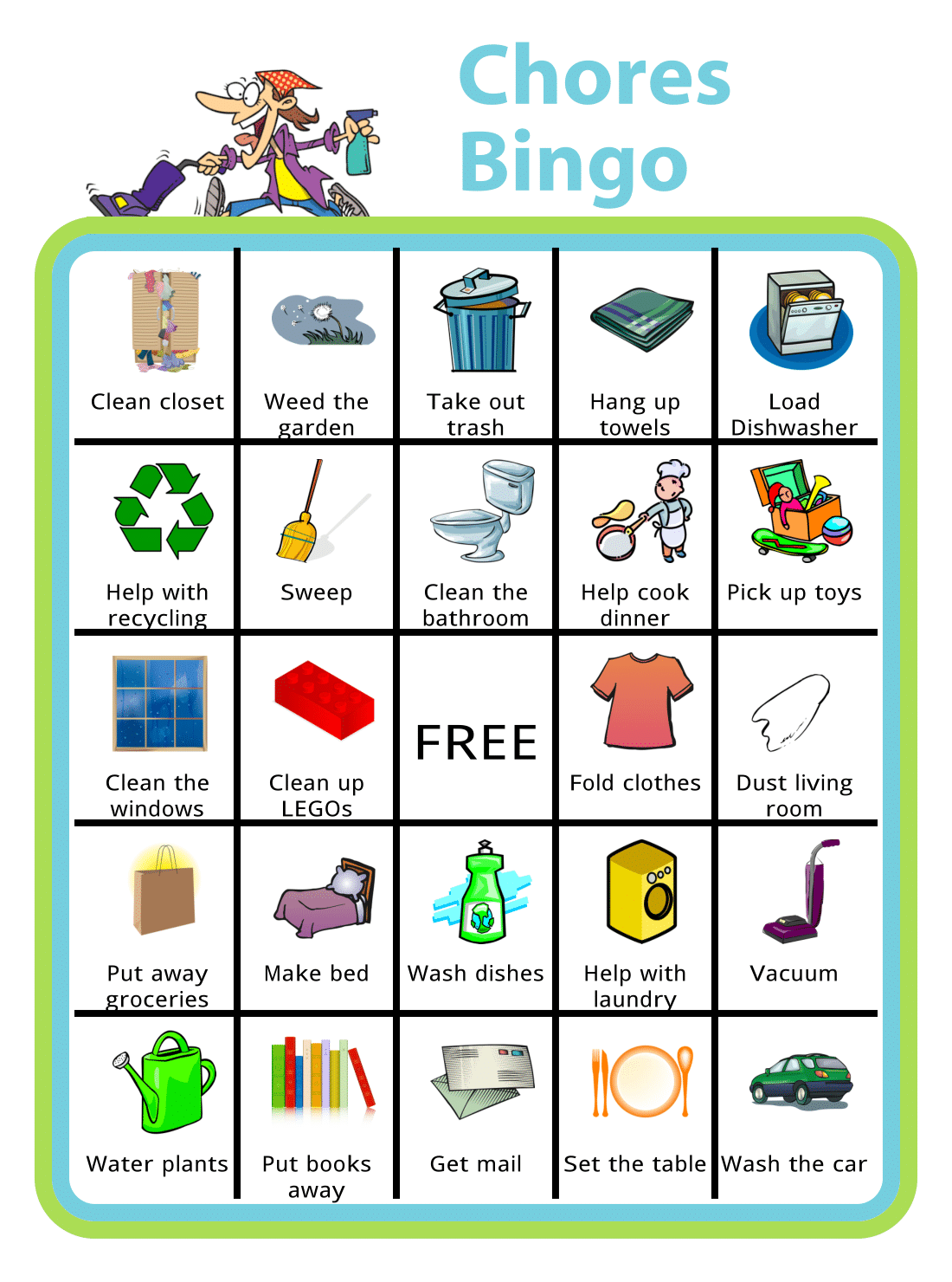 Free Printable Chores Bingo