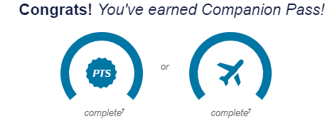 Southwest Rapid Rewards dashboard showing that we have earned the Companion Pass