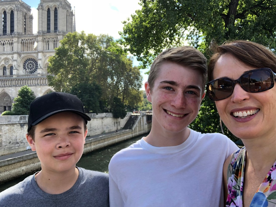 Posing outside Notre Dame Cathedral