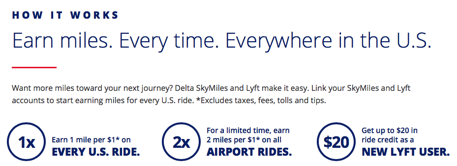 Earn Delta Skymiles when you link with your Lyft account. This is a super easy way to earn points and miles.
