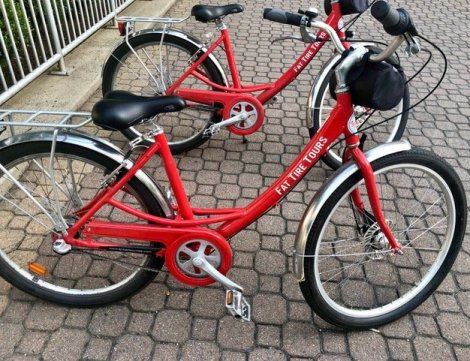 The iconic red bicycles used for Fat Tire Tours