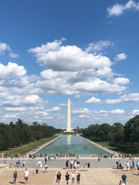 The Washington Monument and Reflecting Pool as viewed from the steps of the Lincoln Memorial