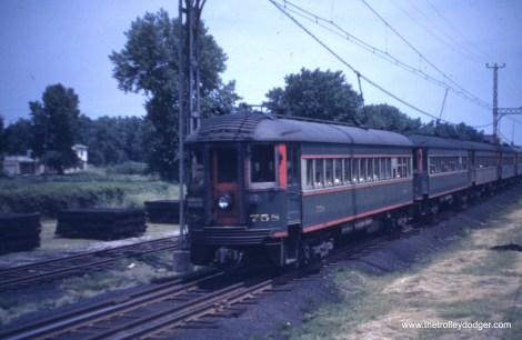 Car 758 heads up a train in 1941.