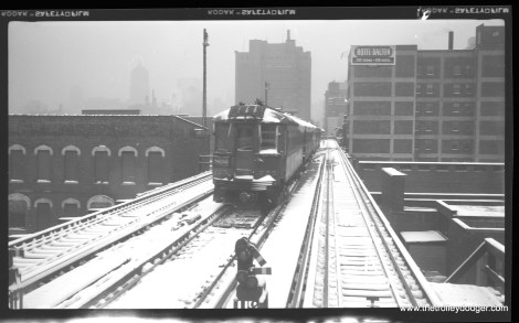 CNS&M 725 on layover at Roosevelt Road on February 13, 1960, during a heavy snowstorm. (Richard H. Young Photo)