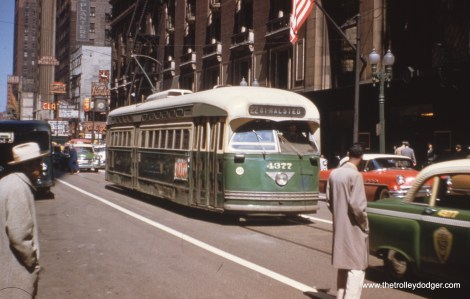 Postwar PCC 4377 heads south on Clark in the mid-1950s. The Clark Theatre, the Bamboo Inn, and the Blue Note are visible on the next block.