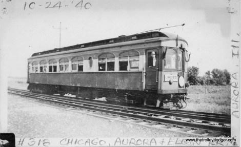 CA&E 318 near Whaton on a Central Electric Railfans' Association fantrip, October 24, 1940.