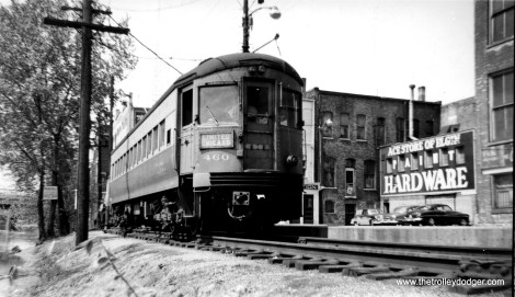 CA&E 460 in Elgin on May 14, 1953. This car is preserved in operating condition at the Illinois Railway Museum.