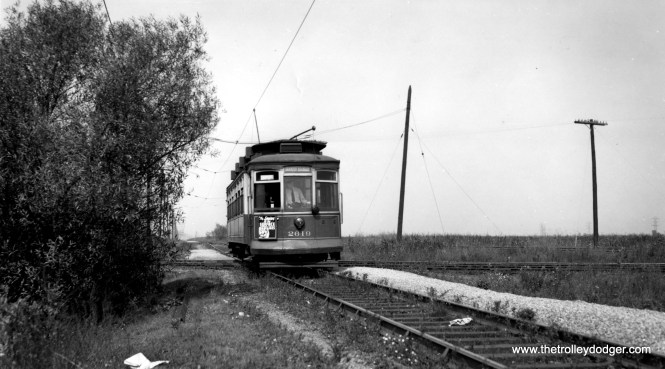"""Bob Lalich says, """"The photo of SB 2619 was taken near 130th St. The Brandon-Brainard line crossed two steam railroads near 130th St, the Calumet Western and the PRR-Calumet River line. The crossings were very close to each other as the junction between the Calumet Western and the Calumet River RR was a very short distance to the east. If you zoom in on the photo of 2619 in this blog you can see both crossings."""" (Joe L. Diaz Photo)"""