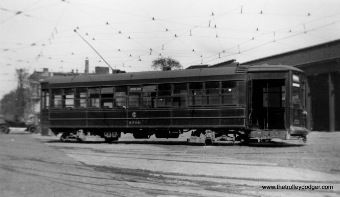 """Car 5790 circa 1918-20. Roy Benedict says that while this cannot be Burnside, """"it might be looking toward the south along the Cottage Grove Ave. side of Cottage Grove carhouse and maybe it is, but I cannot confirm it with evidence which I have at hand."""" CSL did not paint their streetcars red until the early 1920s, when it was done to make them more visible to motorists. Before that, the standard CSL color was a dark green."""