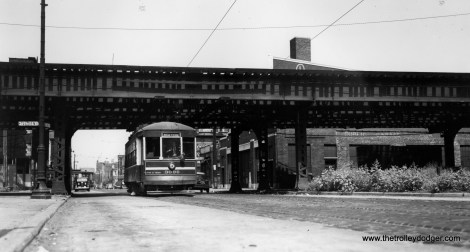 """Southbound car 3096 passes under the Metropolitan """"L"""" main line at Racine and Tilden. Marshfield Junction would be a few blocks west of here. The Eisenhower expressway runs through here now. (Joe L. Diaz Photo)"""