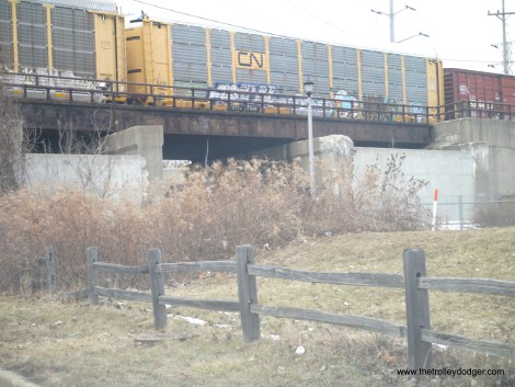 Where the CA&E main line once crossed under the Indiana Harbor Belt RR. Since the railroad was scrapped in 1962, some concrete walls have been erected.