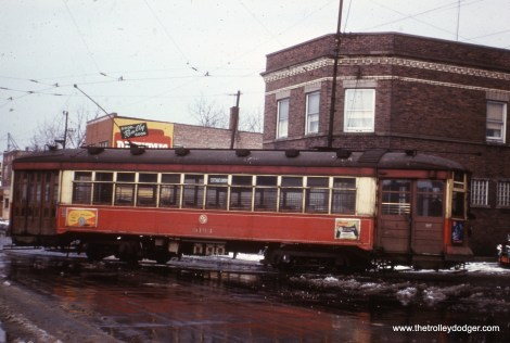 "CTA 3194 signed for Cottage Grove. According to Andre Kristopans, this car is ""turning north off 115th onto St. Lawrence down in Pullman."""
