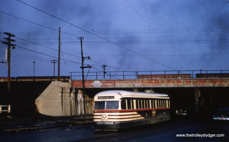 CTA 4014 on 63rd, having just crossed under the B&O, on February 17, 1951.