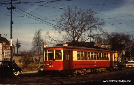CTA 225, now preserved at seashore Trolley Museum in Kennebunkport, Maine, is shown on one of those 1954-58 fantrips held after the end of red car service.