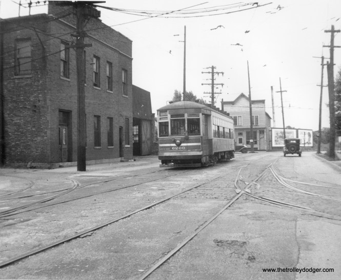 CSL 6200 by Hammond Station (car house), 1939. According to Andre Kristopans, this street is called Gostlin. (M.D. McCarter Collection)CSL 6200 by Hammond Station (car house), 1939. According to Andre Kristopans, this street is called Gostlin. (M.D. McCarter Collection)