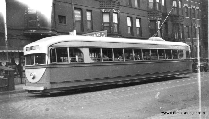 CSL 7001 at State and Chicago, in World's Fair service, at 9 am on August 29, 1934. (George Krambles Photo)