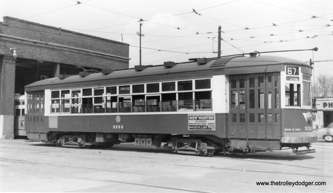 """CTA 3250. According to Andre Kristopans, we are at the """"70th St end of 69th carhouse."""" (Robert W. Gibson Photo)"""