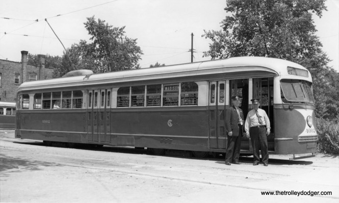 CSL 4002 and crew at Madison and Austin on July 16, 1938. (M. D. McCarter Collection)