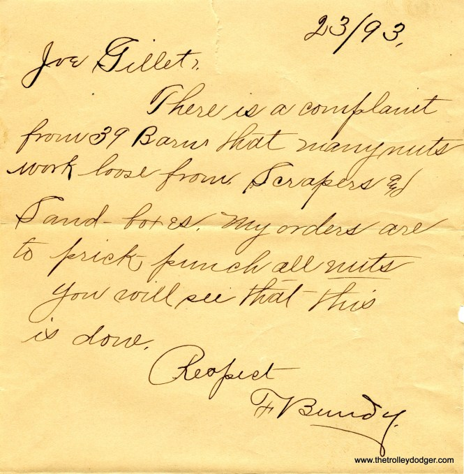 """An 1893 note regarding a complaint from """"39 Barn,"""" which was located at the corner of 39th (Pershing) and Cottage Grove."""