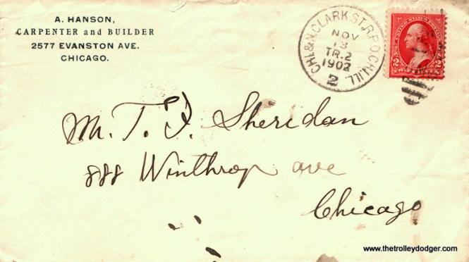 Chicago streetcar RPO cancellation - North Clark St. line, 11-13-1902.