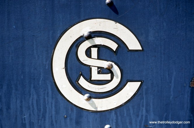The Chicago Surface Lines logo on experimental pre-PCC car 4001, as it looked in 1951 when the car was in storage at South Shops.