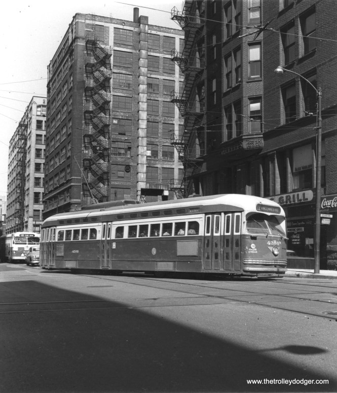 CTA 4380 at Harrison and Dearborn on June 3, 1958. (Thomas H. Desnoyers Photo)