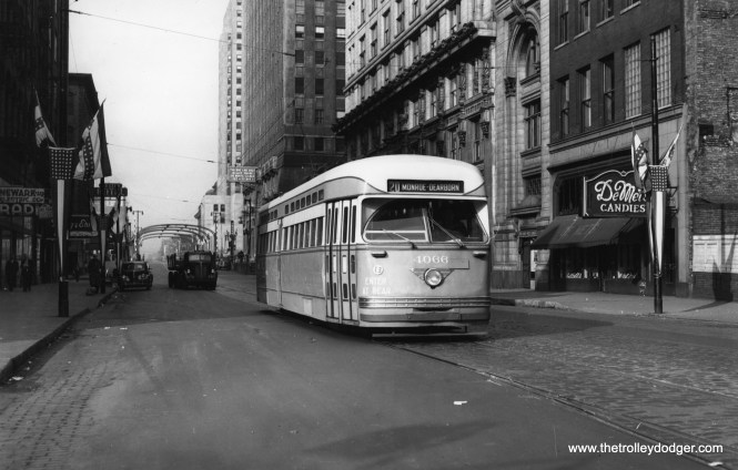 CTA 4066 at Madison and Franklin on October 24, 1948.