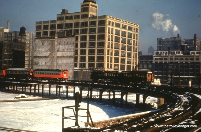 #1 - WS: Met 'L'. View looks east from Halsted Station. FH: note the pre-rebuild Cincinnati. EM: South end of Halsted curves. CAE train is outbound, Looking NE, late morning.