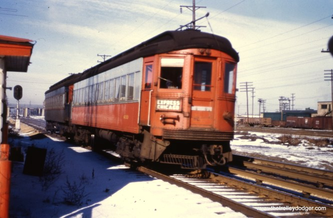 """#89 - JN: Eastbound train at Bellwood. EM: CAE 433 (Cincinnati, 1927) is headed for Chicago having passed under the Indiana Harbor Belt RR. View is looking NW. Bill Shapotkin adds, """"While the captions """"Eastbound train at Bellwood"""" and that: """" CAE 433 (Cincinnati, 1927) is headed for Chicago having passed under the Indiana Harbor Belt RR. View is looking NW."""" are both correct -- the location should be specified as being at 25th Ave (which IS in Bellwood), which is the first grade xing east of the IHB/B&OCT overcrossing."""""""