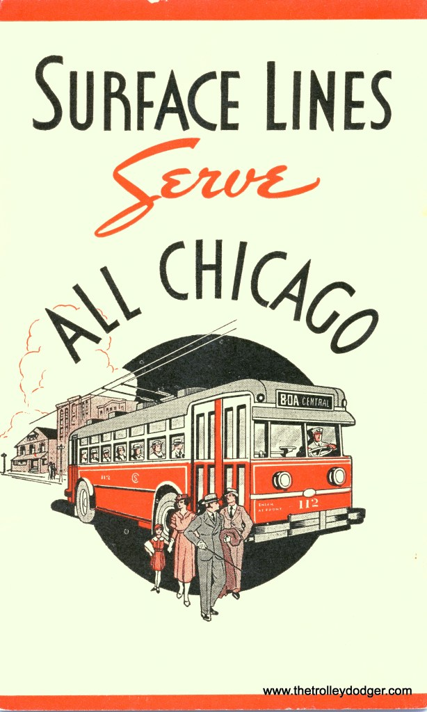 A CSL trolley coach, from a 1935 brochure.  This image, originally posted here, appeared in the Chicago Tonight segment.