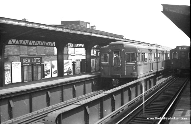 """A New York """"Bluebird"""" articulated compartment car in service in 1949."""