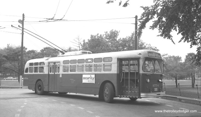 CTA trolley bus 9754 at the west end of the Irving Park route.