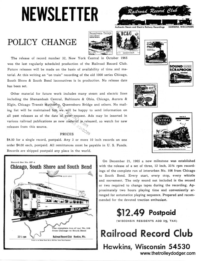 The RRC Newsletter from late 1965.