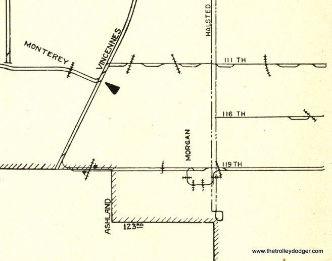 Detail from the Chicago Surface Lines supervisor's map from 1941, as featured in our E-book.