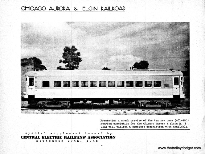 The advert for the Electric Railway Pictorial includes what is probably a builder's photo from St. Louis Car Company, showing one of the curved-side CA&E cars delivered in 1945-46.