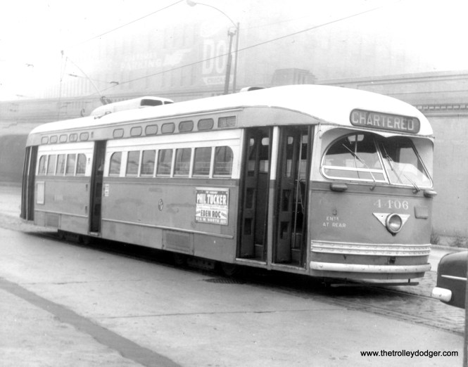 CTA 4406, a product of St. Louis Car Company, in charter service on Clark Street north of Cermak Road, October 21, 1956.