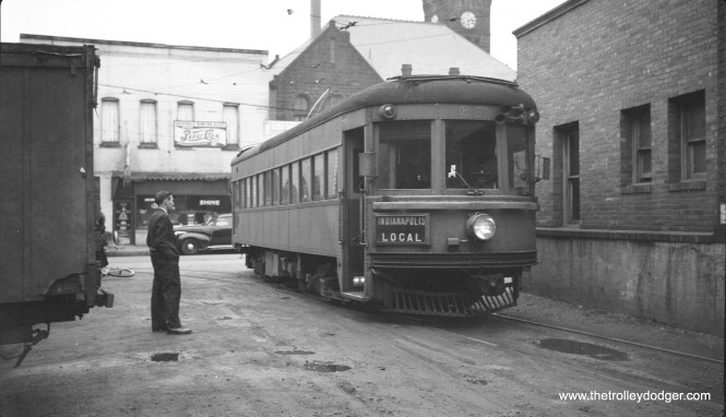 Indiana Railroad lightweight high-speed interurban car 63 at Bluffton in 1936. (C. Edward Hedstrom, Sr. Photo) Car 65, a sister to this one, is preserved in operable condition at the Illinois Railway Museum.