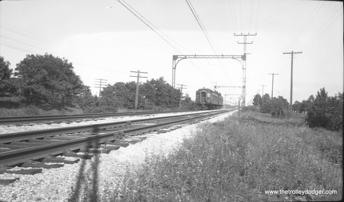 A pair of Illinois Central suburban electric cars, in what was presumably a fantrip, running on the Chicago, South Shore and South Bend railroad near Wagner, Indiana. (C. Edward Hedstrom, Jr. Photo)