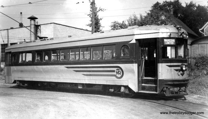 """Speedrail car 66, shown here on the Waukesha loop, was a Cincinnati """"curved-side"""" car. It had formerly been used by both Lehigh Valley Transit and the Dayton and Troy. This car, after having been refurbished for Speedrail, was only in service for a short period of time before the line quit in 1951."""
