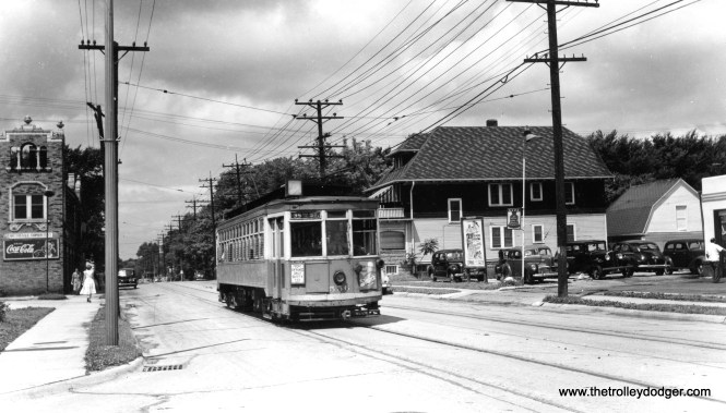 """Milwaukee city car 556 on Becher St. in West Allis. Don's Rail Photos adds, """"556 was built by St Louis Car Co in 1911. It was one manned in 1928."""""""