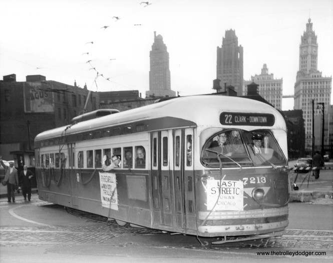 I believe this iconic picture of CTA 7213, leaving Clark and Kinzie on the last Chicago streetcar run in the early morning hours of June 21, 1958, is a CTA photo.